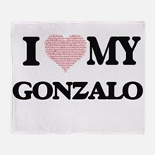 I Love my Gonzalo (Heart Made from L Throw Blanket
