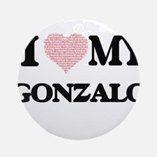 I Love my Gonzalo (Heart Made from Round Ornament