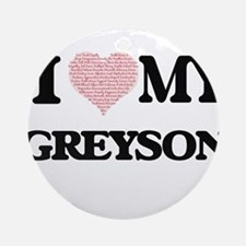 I Love my Greyson (Heart Made from Round Ornament