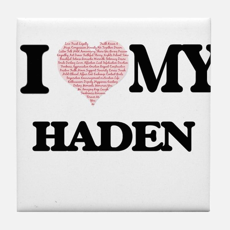 I Love my Haden (Heart Made from Love Tile Coaster