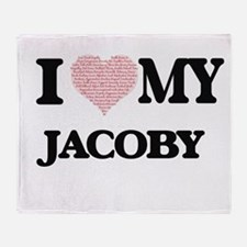 I Love my Jacoby (Heart Made from Lo Throw Blanket