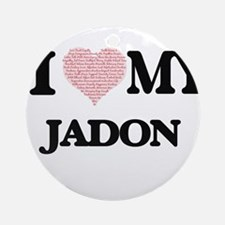 I Love my Jadon (Heart Made from Lo Round Ornament