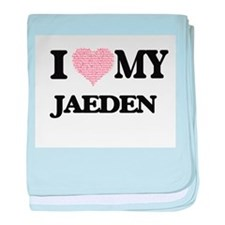 I Love my Jaeden (Heart Made from Lov baby blanket