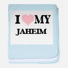 I Love my Jaheim (Heart Made from Lov baby blanket