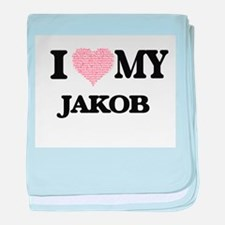 I Love my Jakob (Heart Made from Love baby blanket