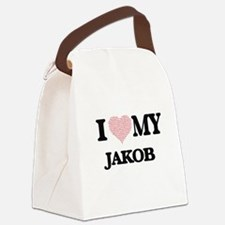 I Love my Jakob (Heart Made from Canvas Lunch Bag