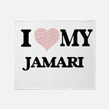 I Love my Jamari (Heart Made from Lo Throw Blanket