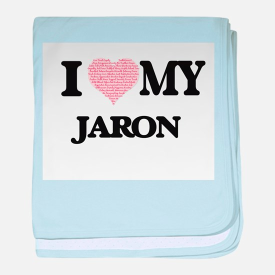 I Love my Jaron (Heart Made from Love baby blanket