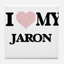 I Love my Jaron (Heart Made from Love Tile Coaster