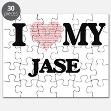 I Love my Jase (Heart Made from Love my wor Puzzle