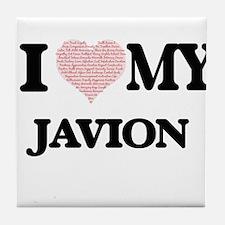 I Love my Javion (Heart Made from Lov Tile Coaster
