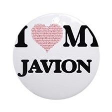 I Love my Javion (Heart Made from L Round Ornament