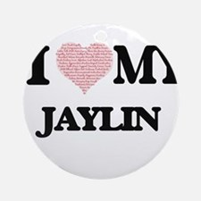 I Love my Jaylin (Heart Made from L Round Ornament