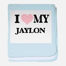 I Love my Jaylon (Heart Made from Lov baby blanket