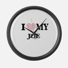 I Love my Joe (Heart Made from Lo Large Wall Clock