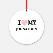I Love my Johnathon (Heart Made fro Round Ornament