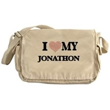 I Love my Jonathon (Heart Made from Messenger Bag