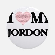 I Love my Jordon (Heart Made from L Round Ornament