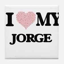 I Love my Jorge (Heart Made from Love Tile Coaster