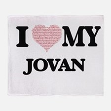I Love my Jovan (Heart Made from Lov Throw Blanket