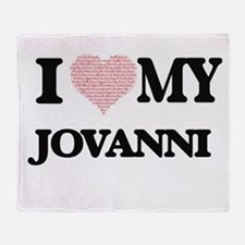 I Love my Jovanni (Heart Made from L Throw Blanket