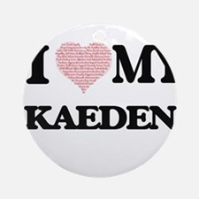 I Love my Kaeden (Heart Made from L Round Ornament