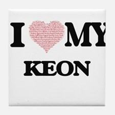 I Love my Keon (Heart Made from Love Tile Coaster