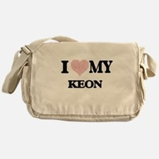 I Love my Keon (Heart Made from Love Messenger Bag