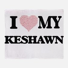 I Love my Keshawn (Heart Made from L Throw Blanket