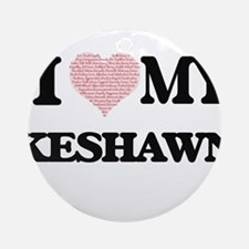 I Love my Keshawn (Heart Made from Round Ornament