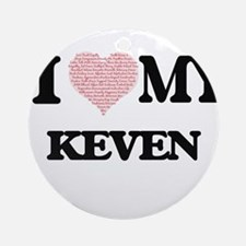 I Love my Keven (Heart Made from Lo Round Ornament