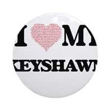 I Love my Keyshawn (Heart Made from Round Ornament