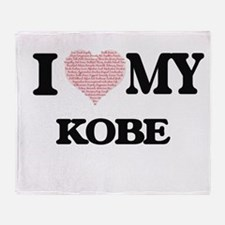 I Love my Kobe (Heart Made from Love Throw Blanket