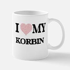 I Love my Korbin (Heart Made from Love my wor Mugs