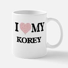 I Love my Korey (Heart Made from Love my word Mugs