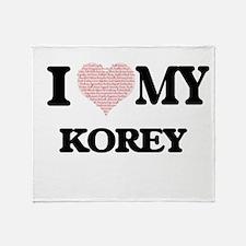I Love my Korey (Heart Made from Lov Throw Blanket