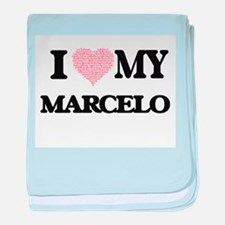 I Love my Marcelo (Heart Made from Lo baby blanket