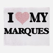 I Love my Marques (Heart Made from L Throw Blanket