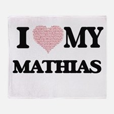 I Love my Mathias (Heart Made from L Throw Blanket