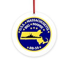 USS Massachusetts BB-59 Ornament (Round)