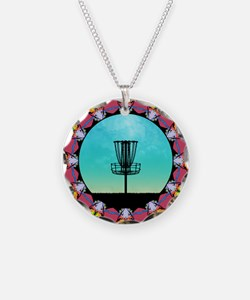 Disc Golf Abstract Basket 6 Necklace