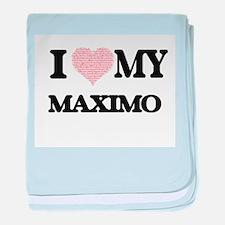I Love my Maximo (Heart Made from Lov baby blanket