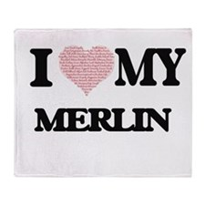 I Love my Merlin (Heart Made from Lo Throw Blanket