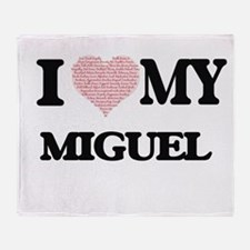I Love my Miguel (Heart Made from Lo Throw Blanket