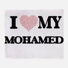 I Love my Mohamed (Heart Made from L Throw Blanket
