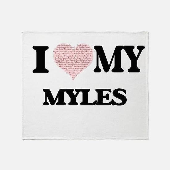 I Love my Myles (Heart Made from Lov Throw Blanket