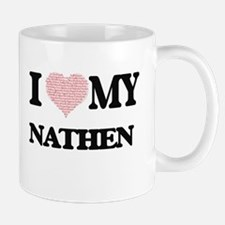 I Love my Nathen (Heart Made from Love my wor Mugs