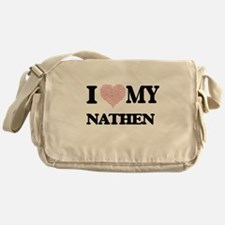 I Love my Nathen (Heart Made from Lo Messenger Bag