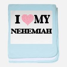 I Love my Nehemiah (Heart Made from L baby blanket