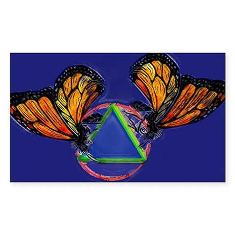 Recovery Butterfly Rectangle Sticker